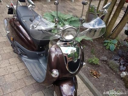 Retro scooter SENZO blauw kenteken